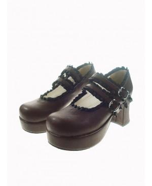 "Brown 2.9"" Heel High Classic Polyurethane Round Toe Cross Straps Platform Lady Lolita Shoes"