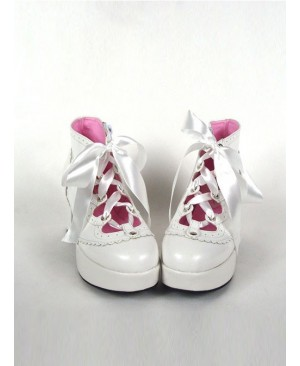 "White 2.9"" Heel High Special Synthetic Leather Round Toe Ankle Straps Platform Girls Lolita Shoes"