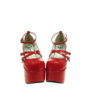 "Red 4.9"" Heel High Romatic PU Round Toe Scalloped Platform Girls Lolita Shoes"