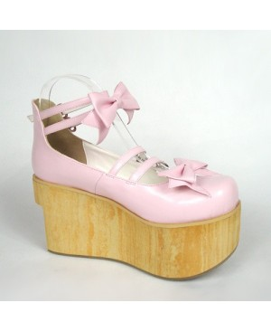"Pink 3.7"" Heel High Stylish Patent Leather Round Toe Bow Decoration Platform Lady Lolita Shoes"