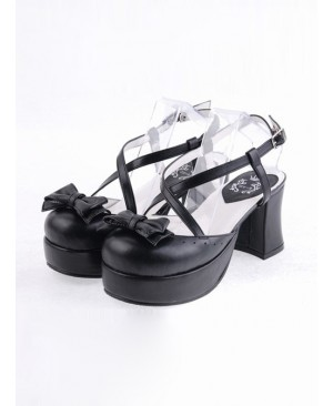 "Black 2.9"" Heel High Lovely Polyurethane Point Toe Criss Cross Straps Platform Lady Lolita Shoes"