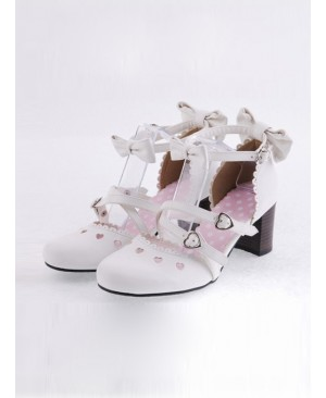 "White 2.6"" Heel High Classic Synthetic Leather Point Toe Bowknot Platform Women Lolita Shoes"
