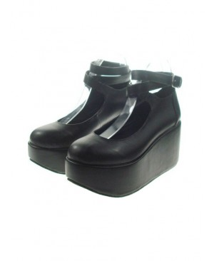 "Black 3.1"" Heel High Cute Patent Leather Point Toe Ankle Straps Platform Women Lolita Shoes"