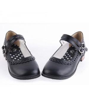 "Black 1.0"" Heel High Romatic Synthetic Leather Point Toe Cross Straps Platform Women Lolita Shoes"