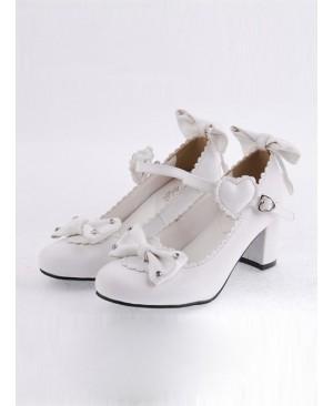 "White 2.6"" Heel High Lovely Polyurethane Point Toe Bowknot Platform Women Lolita Shoes"