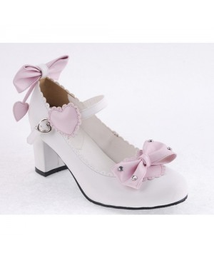 "White & Pink 2.6"" Heel High Cute Synthetic Leather Point Toe Bowknot Platform Women Lolita Shoes"