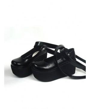 "Black 3.7"" Heel High Special PU Round Toe Ankle Straps Platform Women Lolita Shoes"