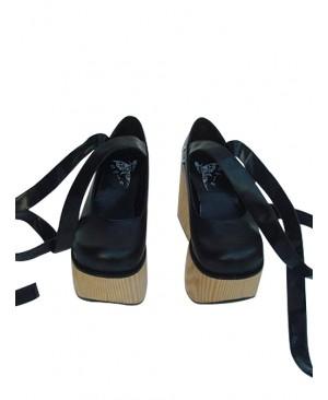 "Black 3.7"" Heel High Beautiful PU Round Toe Ankle Straps Platform Women Lolita Shoes"