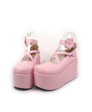 "Pink 3.9"" Heel High Romatic Suede Round Toe Criss Cross Straps Platform Girls Lolita Shoes"