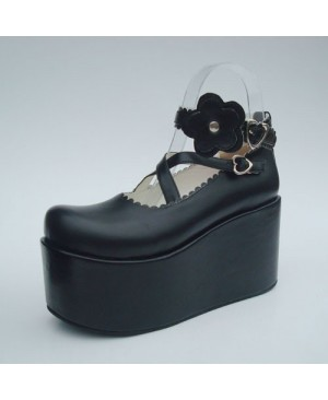 "Black 3.9"" Heel High Special PU Round Toe Criss Cross Straps Platform Girls Lolita Shoes"