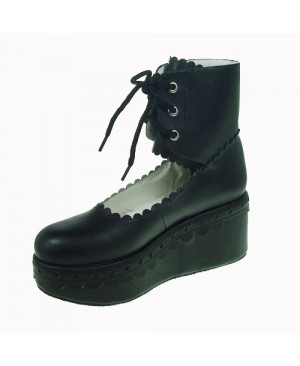 "Black 2.7"" Heel High Adorable PU Round Toe Cross Straps Platform Girls Lolita Shoes"