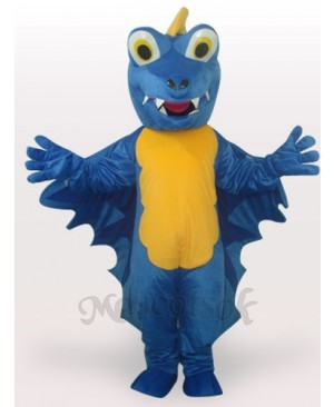 Blue Dinosaur Short Plush Adult Mascot Funny Costume