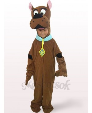 Brown Dog Open Face Kids Plush Mascot Costume