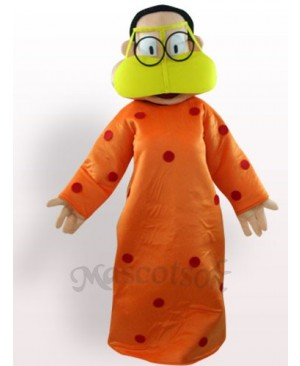 Fat Woman In Orange Clothes Plush Adult Mascot Costume