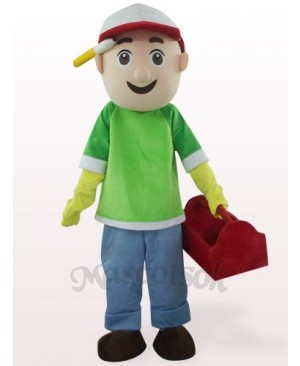 Green And Blue Vendor Boy Plush Mascot Costume