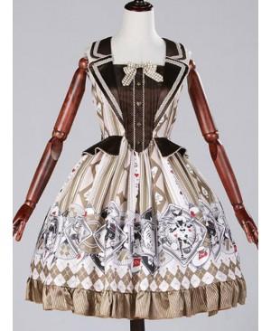 Golden brown poker fake two piece vest skirt Lolita JSK