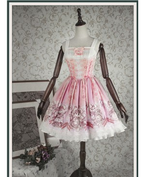 Bunny Alice printing Chiffon Lolita Sleeveless Dress Version I