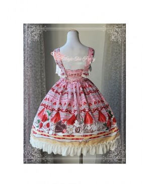 Magic Tea Party Strawberry Chocolate Series High Waist Printing Sweet Lolita Sling Dress