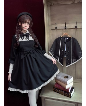Late autumn Chapel Retro Gothic Lolita Long Sleeves Dress And Shawl