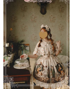 Magic Tea Party The Squirrel Couple's Afternoon Series Printing Sweet Lolita Sling Dress And Shawl