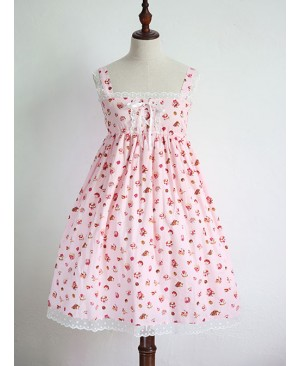 Strawberry Cup Cake Printing High Waist Sweet Lolita Sling Dress