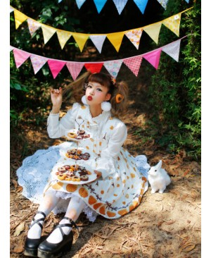 Fashion Paris Pagoda And Biscuits Printing Sweet Lolita Sling Dress