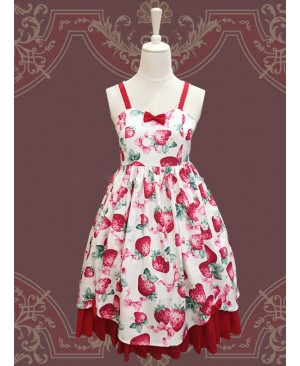 Fashion Strawberry Sweetheart Sweet Lolita Sling Dress