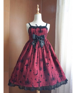 Fashion Sacred Lamp Series High Waist Gothic Lolita Sling Dress