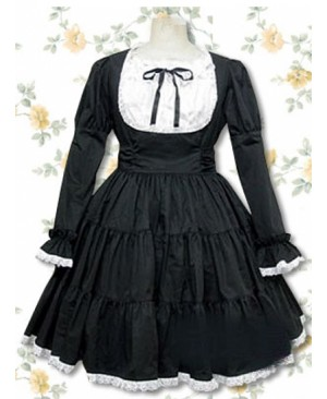 Pure Cotton Black-white Long Sleeves Flounced Gothic Lolita Dress