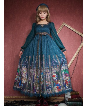 Surface Spell Rosary Printing High Waist Lolita Long Sleeve Dress