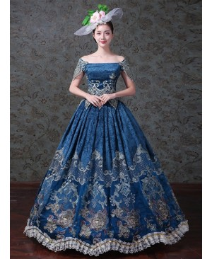 Navy Blue Off Shoulder True Velvet Embroidery Prom Dress