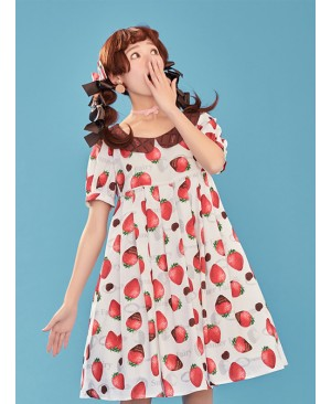 Chocolate Strawberry Lapel High Waist Classic Lolita Short Sleeve Dress