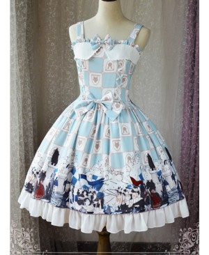 Magic Tea Party War Of Thrones Series Printing Classic Lolita Sling Dress Version 1
