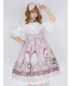 *Royal Rabbit Tea Party* Chiffon Little High Waist Classic Lolita Sling Dress