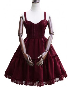 Waltz Series JSK Wine Red Elegant Classic Lolita Sling Dress