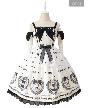 Black Sugar Bear Series Bowknot Sweet Lolita Sling Dress