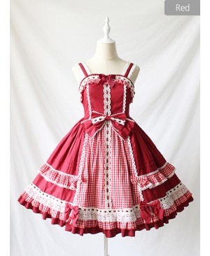 Margaret's Afternoon Tea Series Plaids Splice-color Bowknot Sweet Lolita Sling Dress