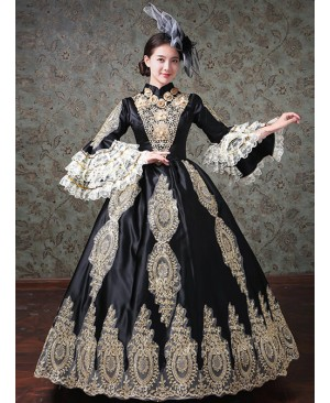 Lace Palace Style Black Trumpet Sleeve Classic Lolita Prom Dress