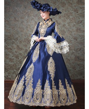 Palace Style Navy Blue Elegant Classic Lolita Prom Long Dress