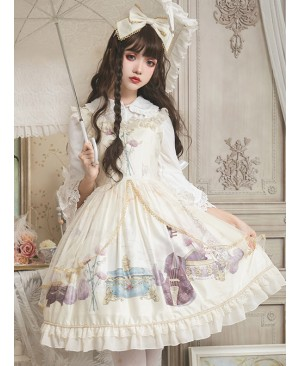 Old Time Dream Series Retro Printing JSK Classic Lolita Sling Dress