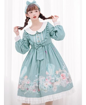 Rabbit Basket Series OP Doll Collar Classic Lolita Long Sleeve Dress