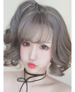 Granny Grey Small Waves Repair Face Short Curly Hair Harajuku Style Lolita Wig