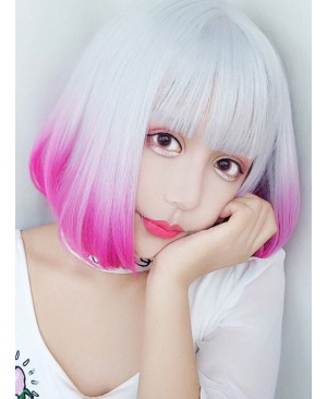 Rinka Haircut Short Curly Hair Silver Pink Gradient Lolita Wig
