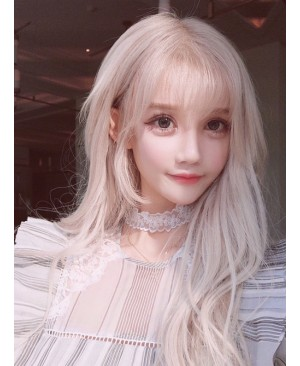 Fashion Lolita Pale Gold Long Curly Wig