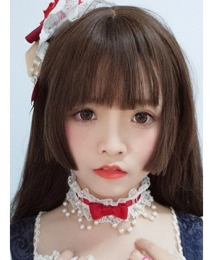 Dark Brown Long Straight Hair Lolita Wig