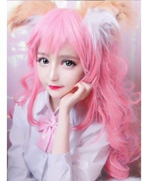 Lovely Large Wave Long Curly Hair Light Pink Cosplay Lolita Wig