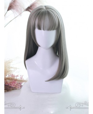 Three Colors Hime Cut Medium Long Straight Hair Lolita Wigs