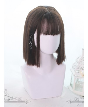 Air-bangs Medium Long Straight Hair Lolita Wigs