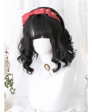 Black Wave Foam Curly Lolita Short Wigs