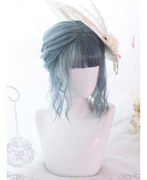 Mermaid Blue Air-bangs Curly Hair Lolita Wigs